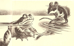 "An Illustration by Fred Gwynne from George Martin's ""The Battle of Frogs and Mice, An Homeric Fable"" (1962)"