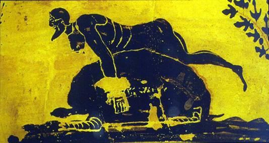 Odysseus Rides a turtle (6th Century BCE Black Figure Skyphos)