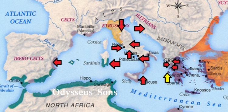 Locations associated with Odysseus' sons