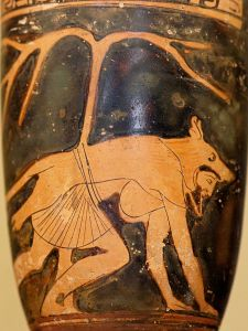 Dolon the Trojan Wears a Wolf Skin on a Red Figure Vase...His 'treatment' was less than therapeutic...
