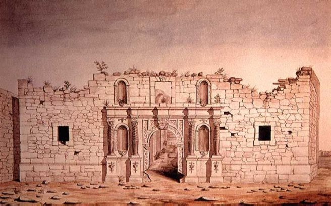 1847_watercolor_of_The_Alamo_in_San_Antonio
