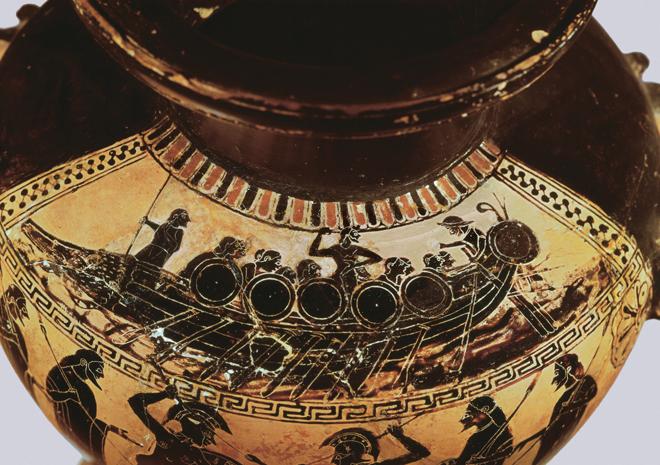 AMPHORA DEPICTING ULYSSES, ATHENA