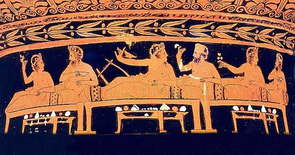 Image result for Ancient dinner party